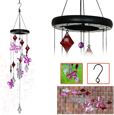 AshmanOnline Wind Chime Pink Flower - Tone Sympathy Wind Chimes with Flower - Tuned Relaxing Melody Gift Decor for Patio, Garden, Home, Balcony