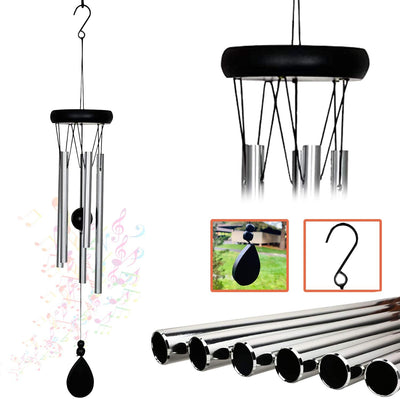 Ashman 20 inch Silver Wind Chime… Roll over image to zoom in        AshmanOnline 20 inch Large Deep Tone Sympathy Wind Chimes with 5 Copper Vein Tubes - Tuned Relaxing Melody Gift Decor for Patio, Garden, Home, Balcony, Indoor and Outdoor