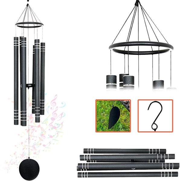 AshmanOnline 42 inch Black Wind Sympathy Chimes with 5 Copper Vein Tubes - Tuned Relaxing Melody Gift Decor for Patio, Garden, Home, Balcony, Indoor and Outdoor