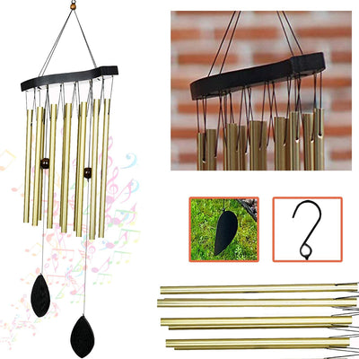 Ashman 30 inch Golden Wind Chimes - Tone Sympathy Wind Chimes with 12 Golden Copper Vein Tubes - Tuned Relaxing Melody Gift Décor for Patio, Garden, Home, Balcony, Indoor and Outdoor