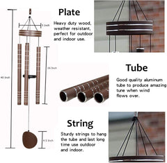 AshmanOnline 40 inch Brown Wind Chimes - Tone Sympathy Wind Chimes with 5 Brown Copper Vein Tubes - Tuned Relaxing Melody Gift Decor for Patio, Garden, Home, Balcony, Indoor and Outdoor