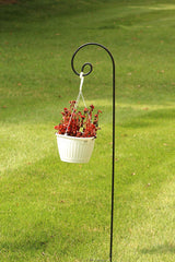 Ashman 65 Inch Shepherds Hook, 1/2 Black Inch Diameter, Solid Metal for Hanging Plant Bird Feeders, Flower Baskets and more