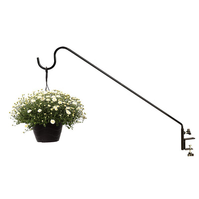 Ashman Black Deck Hook 37 Inches Length 1/2 Inch Diameter, Made of Premium Metal, Super Strong, Ideal for Bird Feeders, Plant Hangers, Hanging Baskets, Humming Bird Feeders attaches to Deck Railing
