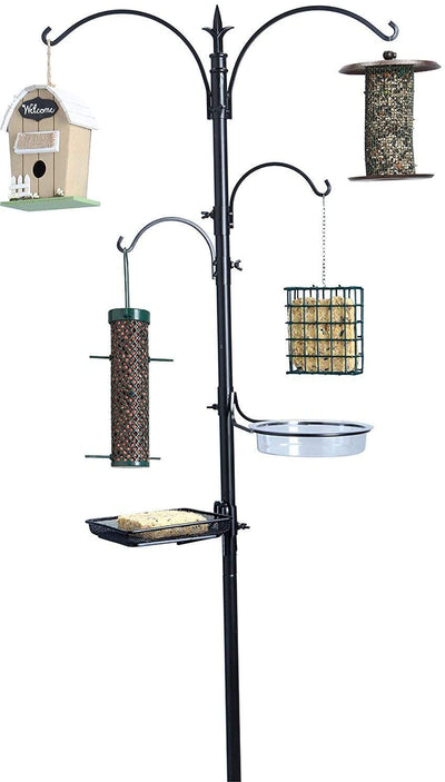 "Ashman Premium Bird Feeding Station Kit, 22"" Wide x 92"" Tall (82"" Above Ground Height), Multi Feeder Hanging Kit and Bird Bath for Attracting Birds"