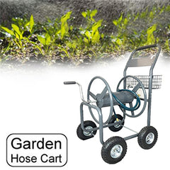 Ashman Garden Hose Reel Cart - 4 Wheels Portable Garden Hose Reel Cart with Storage Basket Rust Resistant Heavy Duty Water Hose Holder.