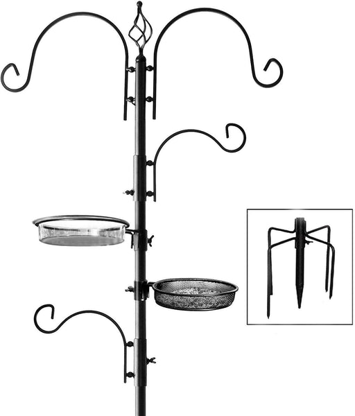 Deluxe Bird Feeding Station (4 Pack) Bird Feeders for Outside - Multi Feeder Pole Stand Kit with 4 Hangers, Bird Bath and 3 Prong Base for Attracting Wild Birds - 22 Inch Wide x 92 Inch Tall.