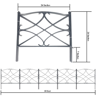 Ashman Galvanized Garden Fence 24in x 10ft  (Set of 5) - Outdoor Rustproof Metal Landscape Fencing Wrought Iron Wire Gate Border Edge Folding