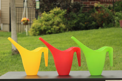 Ashman Set of 3 Watering Can, Indoor and Outdoor Use, Red, Green, Yellow, 2 Liter Capacity