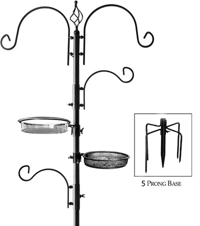 Deluxe Bird Feeding Station : Bird Feeders for Outside - Hang Multiple Feeders From the 4 Hangers, Bird Bath, Mesh Tray and 5 Prong Base
