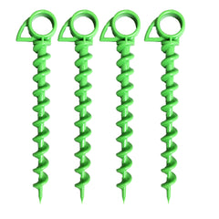 Ashman 9.5 Inch Plastic Spiral Ground Anchor Green Color- Ideal for Securing Animals, Tents, Canopies, Sheds, Car Ports, Swing Sets-It comes in a pack of 4.