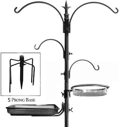 "Ashman Premium Bird Feeding Station 92 Inches Tall – 22"" Wide x 92"" Tall – 4 hangers along with Bird Bath Tray, Mesh Tray – 5 Pronged Base Support."