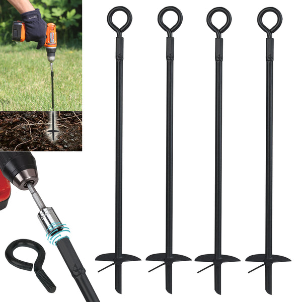 Ashman Black Ground Anchor 15 Inches in Length and 2/5 Inch Diameter Ideal for Tents, Canopies, Car Ports, Swing Sets (4 Pack).