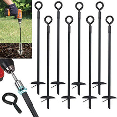 Ashman Black Ground Anchor 15 Inches in Length and 10MM Thick in Diameter, Ideal for Securing Animals, Tents, Canopies, Sheds, Car Ports, Swing Sets (Ground Anchor Drill 8 Pack).