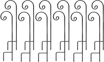 Ashman Shepherd Hook 35 Inch 12 Pack, 1/4 Inch Thick, Made of Premium Metal for Hanging Bird Feeders, Mason Jars and Wedding (12 Pack)