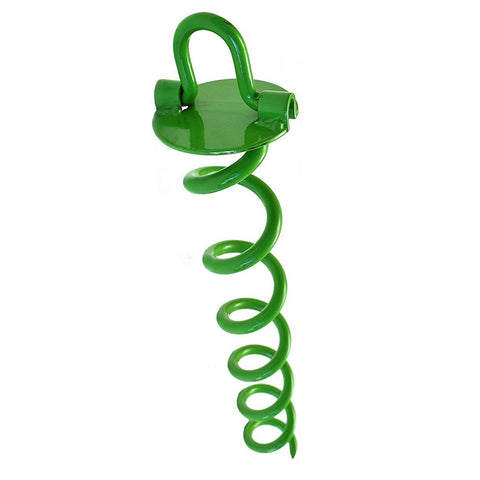 Ashman Spiral Ground Anchor, 16 Inches, with Folding Ring for Securing Tents, Canopies, Sheds, Car ports, Swingsets; Powder-Coated Solid Steel Auger