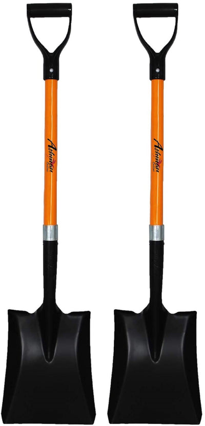 Ashman Square Shovel (2 Pack)– 41 Inches Long D Handle Grip – The Blade Weighs 2.2 Pounds and has a Fiber Glass Handle – Premium Quality Multipurpose Square Shovel Strong Build.