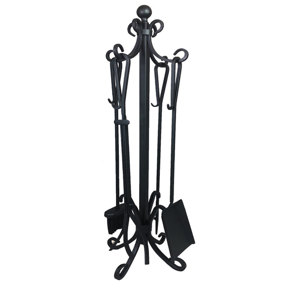 Ashman Fireplace Toolset – 5 Piece Fireplace Toolset – Strong Cast Iron Toolset – Accessories include Tong, Shovel, Base, Poker and Brush – Sturdy well balanced Stand to hold all Tools and Accessories