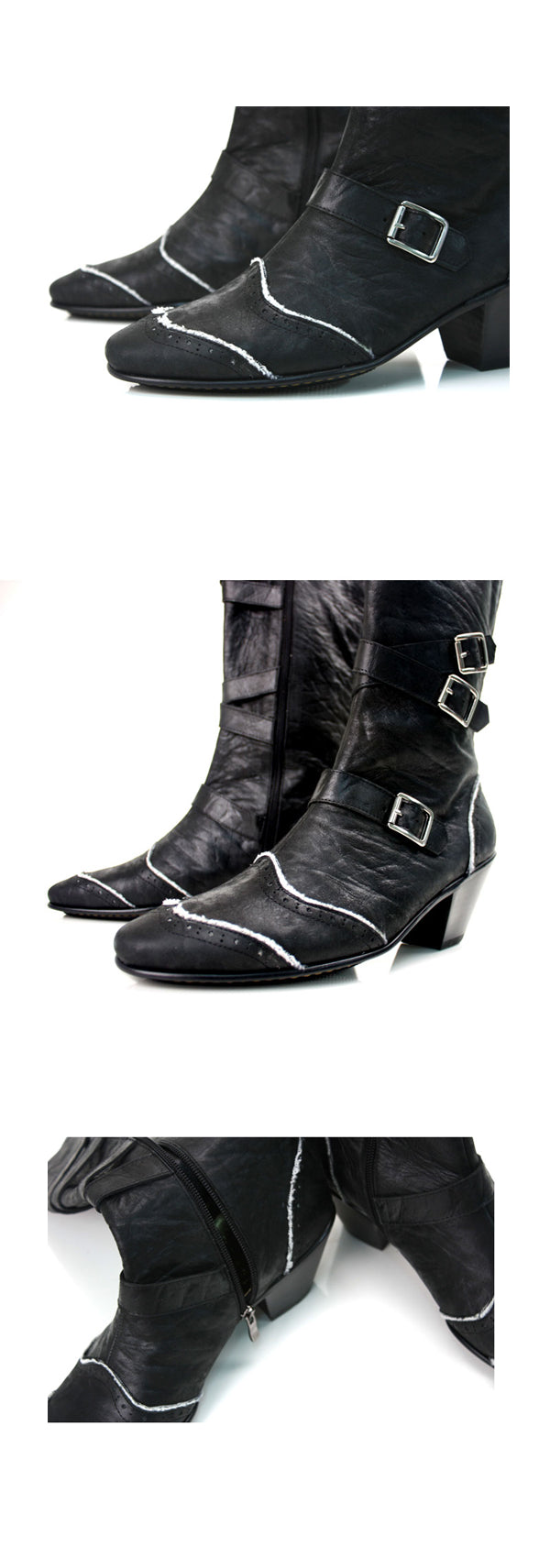 Premium Handmade Leather Shoes Riding Ankle Boots for Men Korea Craft