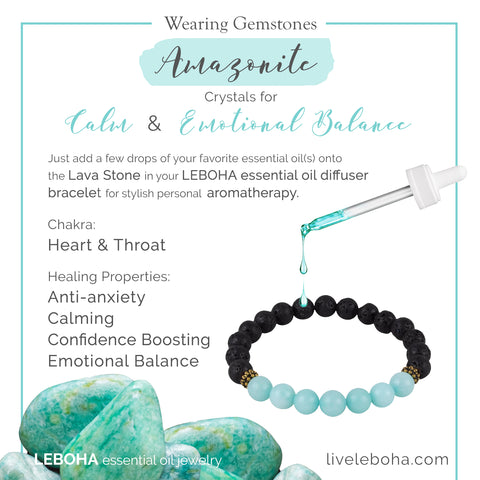 Black Lava Rock and Amazonite Essential Oil [Diffuser] Bracelet