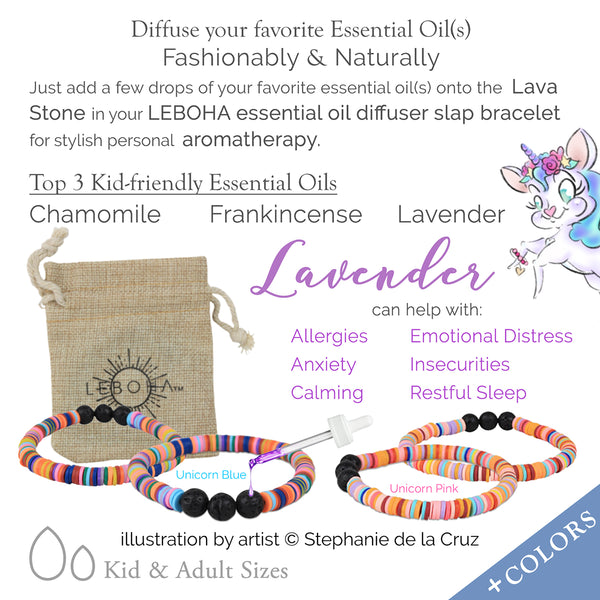 KIDS Unicorn BLUE Multi Heishi and Black Lava Rock Essential Oil [Diffuser] Bracelet