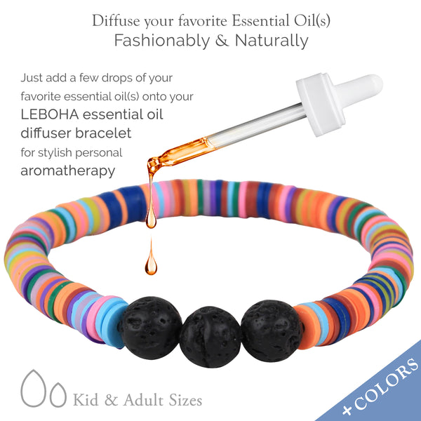 ADULT Unicorn BLUE Multi Heishi and Black Lava Rock Essential Oil [Diffuser] Bracelet