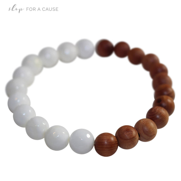 Faceted Tridacna and Cypress Wood Essential Oil [Diffuser] Bracelet