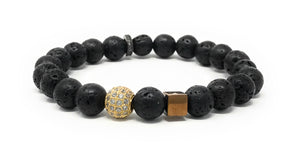 Lava Beads With Accent Pieces Essential Oil [Diffuser] Bracelet