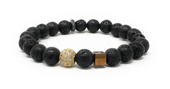 Lava Beads With Accent Pieces Essential Oils Bracelet, 7.25""