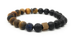 Fashion Tiger Eye, Lava Beads, Accent Pieces Essential Oil [Diffuser] Bracelet