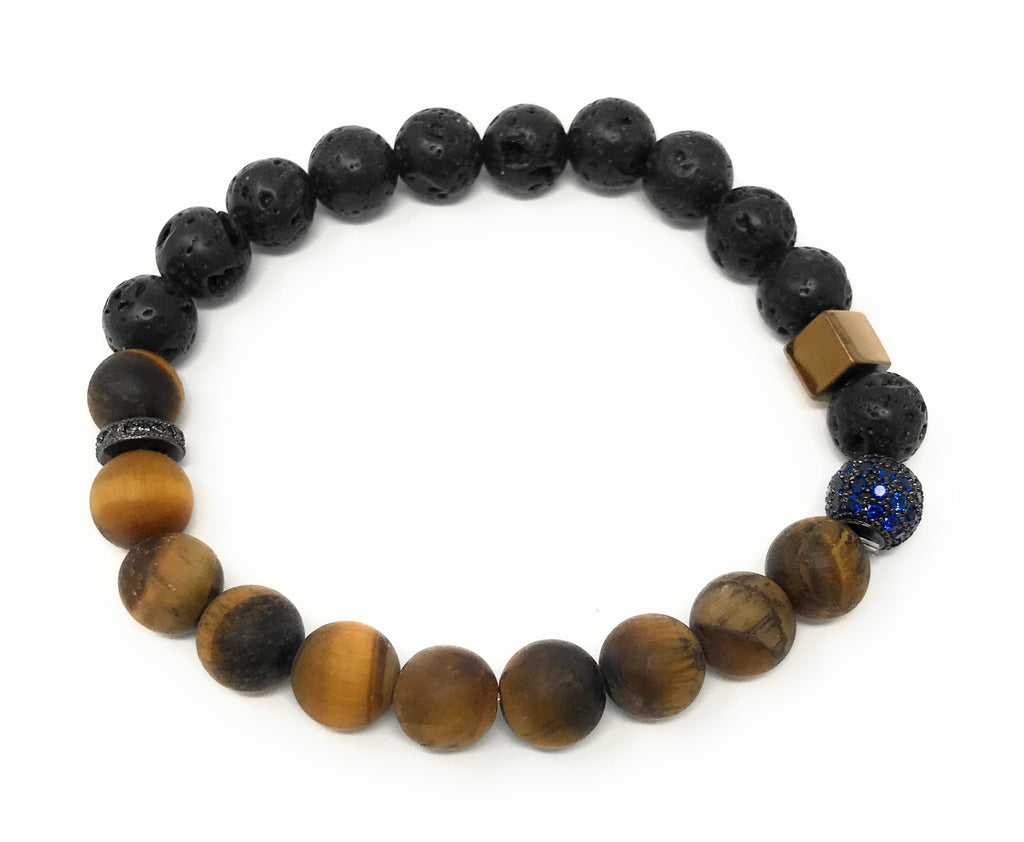 Fashion Tiger Eye, Lava Beads, Accent Pieces Essential Oils Bracelet 8mm, 7.25""