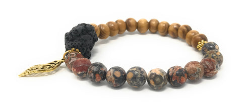 "Leboha ""Be You Collection"" Irregular Lava Stone Pine Wood Beads with Leaf Charm Essential Oils Bracelet 8mm (7.5"")"