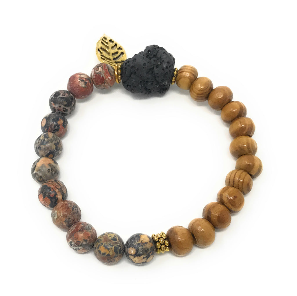 "Leboha Lava Stone Pine Wood Beads with Leaf Charm Essential Oils Bracelet 8mm (7.5"")"