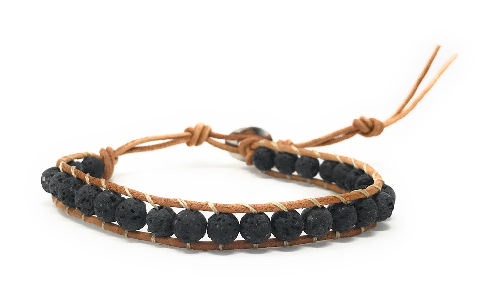 "Leboha ""Lava Collection"" Unisex Single Wrap Handmade Uncoated Lava Bracelet Essential Oils Bracelet, 6mm Bead Size"