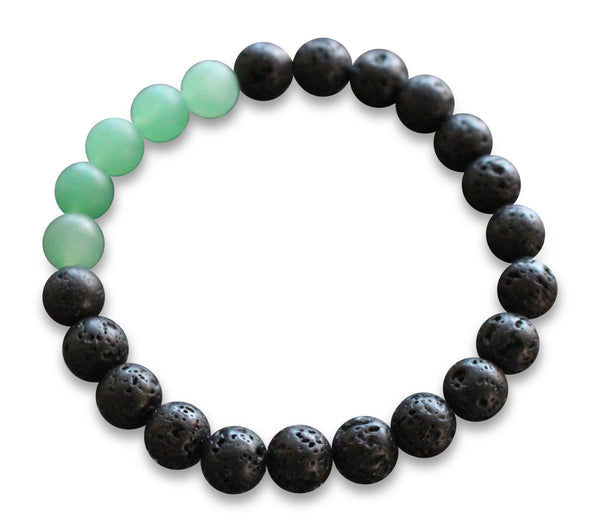 Black Lava Rock and Matte Green Aventurine Essential Oil [Diffuser] Bracelet