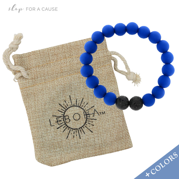 KIDS Lava Rock and Silicone Bead Essential Oil [Diffuser] Bracelet Blue