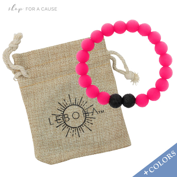 KIDS Lava Rock and Silicone Bead Essential Oil [Diffuser] Bracelet Pink