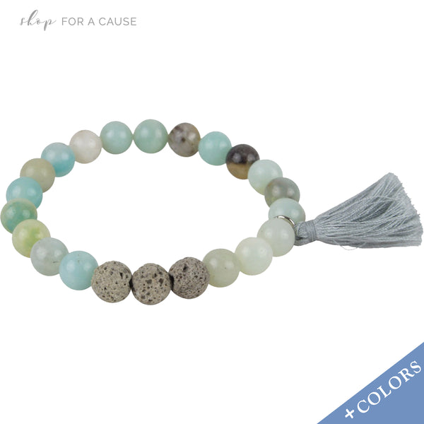 Lava Rock and Semi Precious Gemstone Tassel Essential Oil [Diffuser] Bracelet