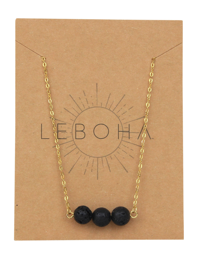 Floating Black Lava Rock Essential Oil Necklace Diffuser