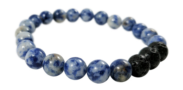 Black Lava Rock and Blue Sodalite Essential Oil [Diffuser] Bracelet