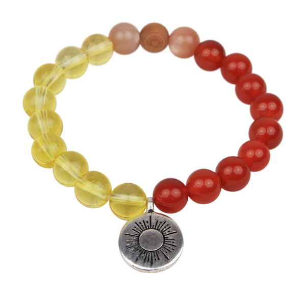 "Unisex Handmade ""Ray Of Light - Energy"" Citrine, Carnelian, Sunstone and Wood Essential Oil [Diffuser] Bracelet"