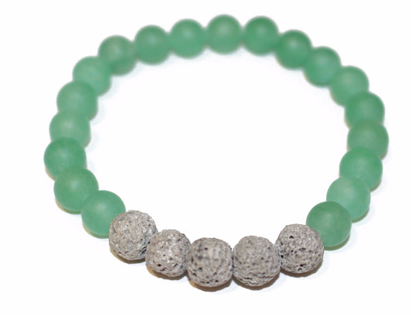 Grey Lava Rock and Matte Green Aventurine Essential Oil [Diffuser] Bracelet