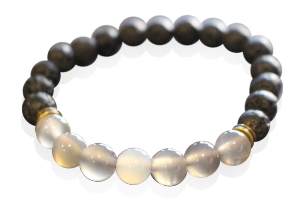 Black Lava Rock and Grey Agate Essential Oil [Diffuser] Bracelet