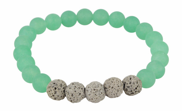 Matte Green Aventurine and Grey Lava Rock