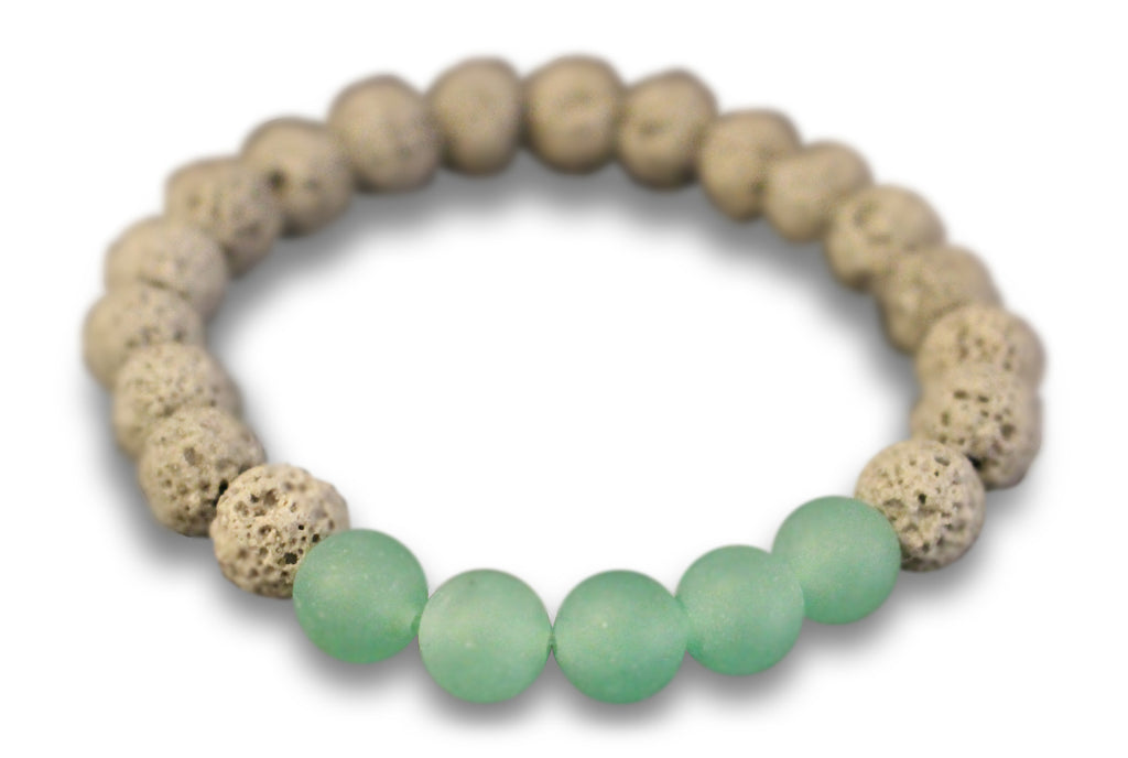 Grey Lava Rock and Matte Green Aventurine