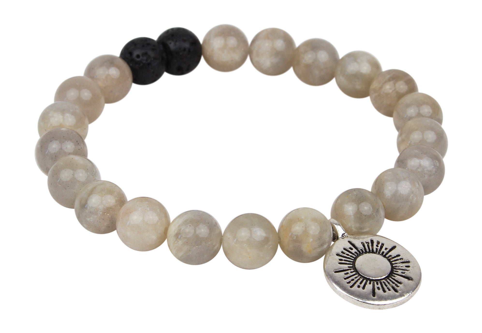 "Unisex Handmade ""Ray of Light - Motherhood "" Grey Moonstone and Black Lava Rock Essential Oil [Diffuser] Bracelet"