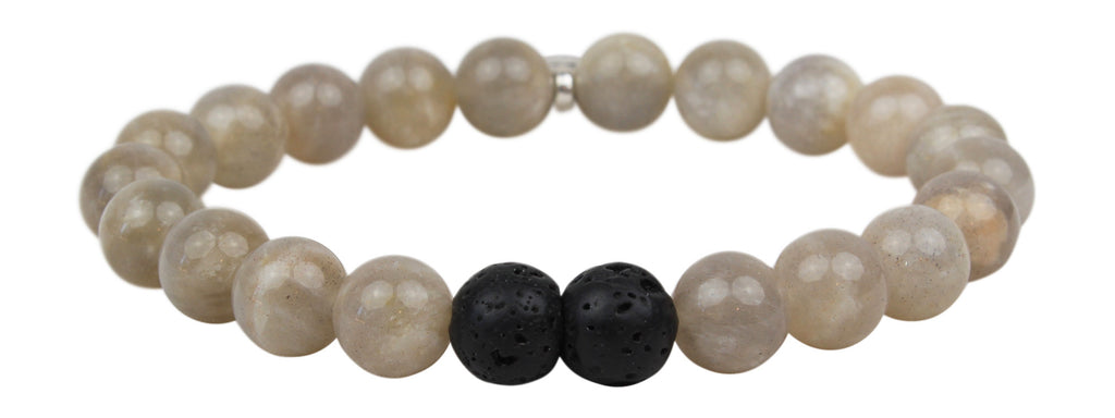 "Leboha ""Ray of Light Motherhood Series"" Fashion Grey Moonstone and Lava 8mm Essential Oil Bracelet, 7"""