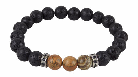 Black Lava Rock and Picture Jasper Essential Oil [Diffuser] Bracelet