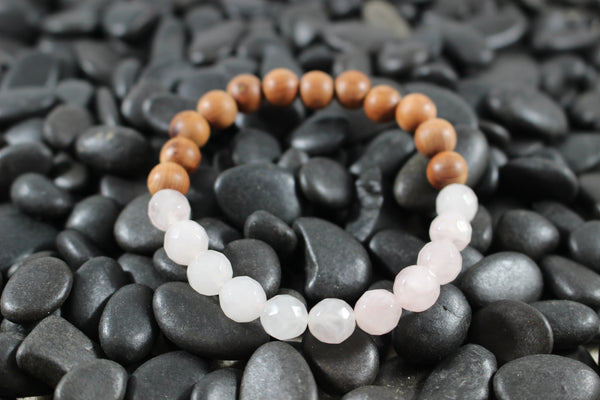 Faceted Rose Quartz and Cypress Wood Essential Oil [Diffuser] Bracelet