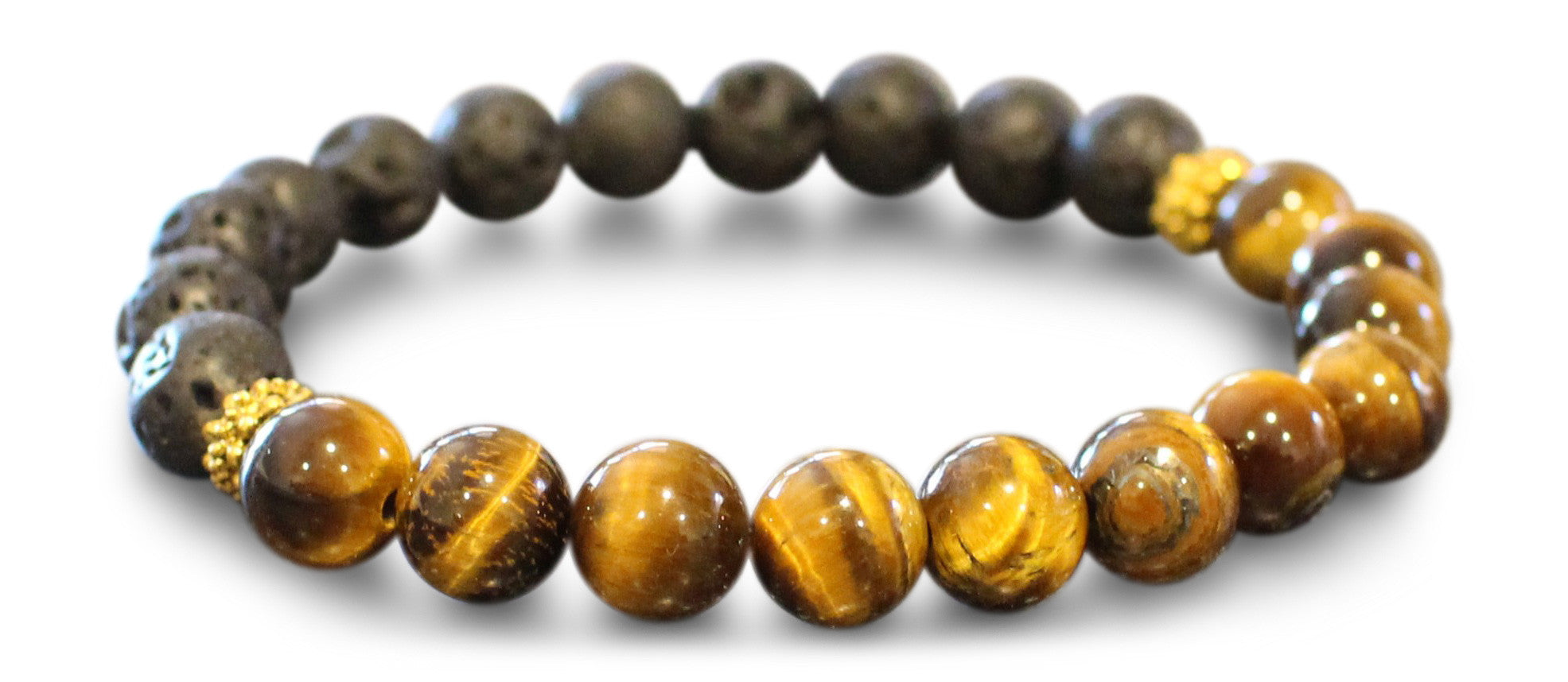 Black Lava Rock and Fashion Tiger Eye Essential Oil [Diffuser] Bracelet