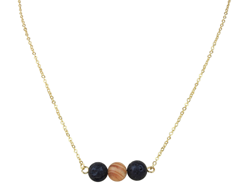 Floating Black Lava Rock and Wood Essential Oil Necklace Diffuser